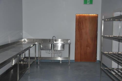 Happy Tappy Commercial Kitchens Gallery - 034 Stainless Side Table with Double Sink System